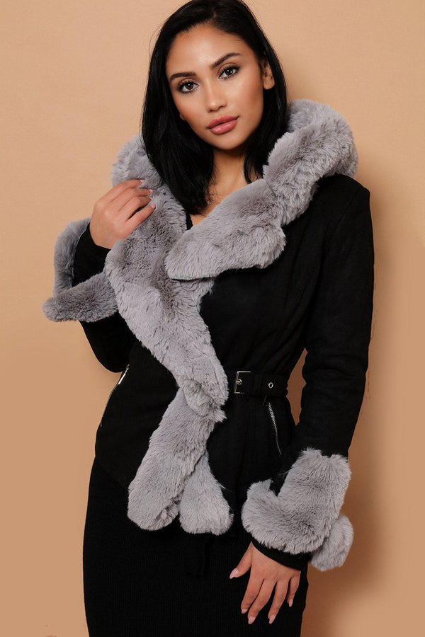 Grey Faux Fur Trim And Lining Jacket-SinglePrice