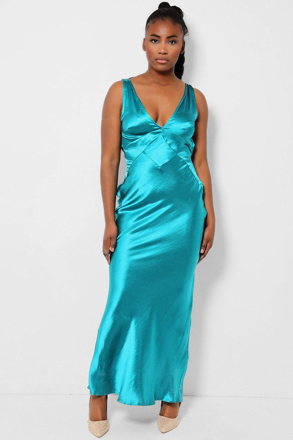 Teal V-Neck Satin Cowl Back Midaxi Dress - SinglePrice