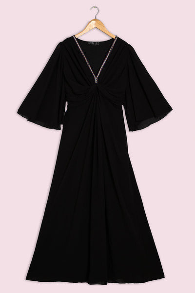 Embroidered V-Neck Black Chiffon Maxi Dress-SinglePrice