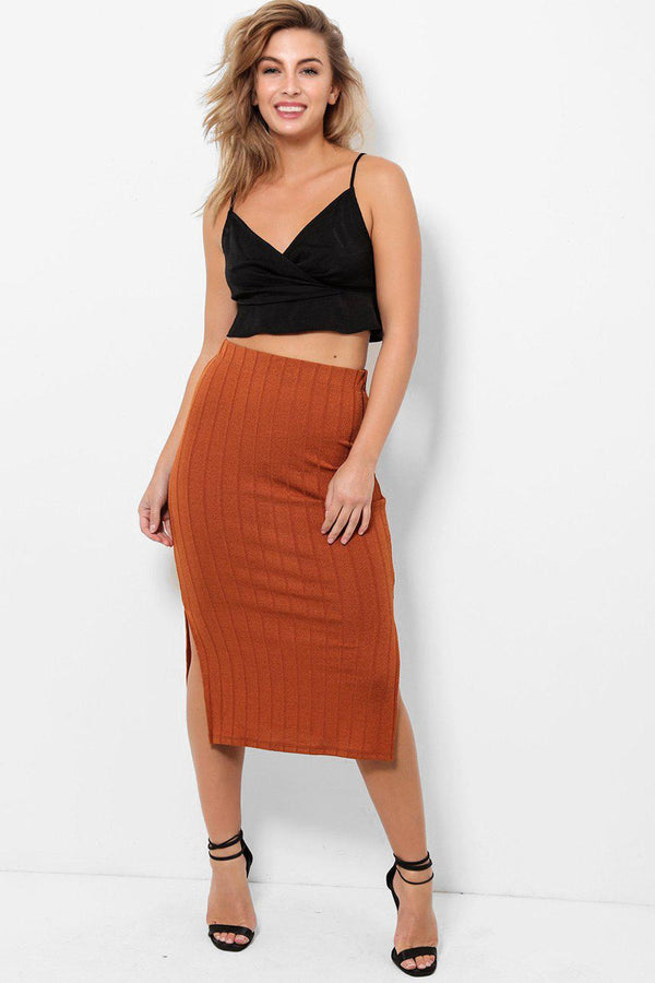Side Slits Burnt Orange Midi Skirt-SinglePrice