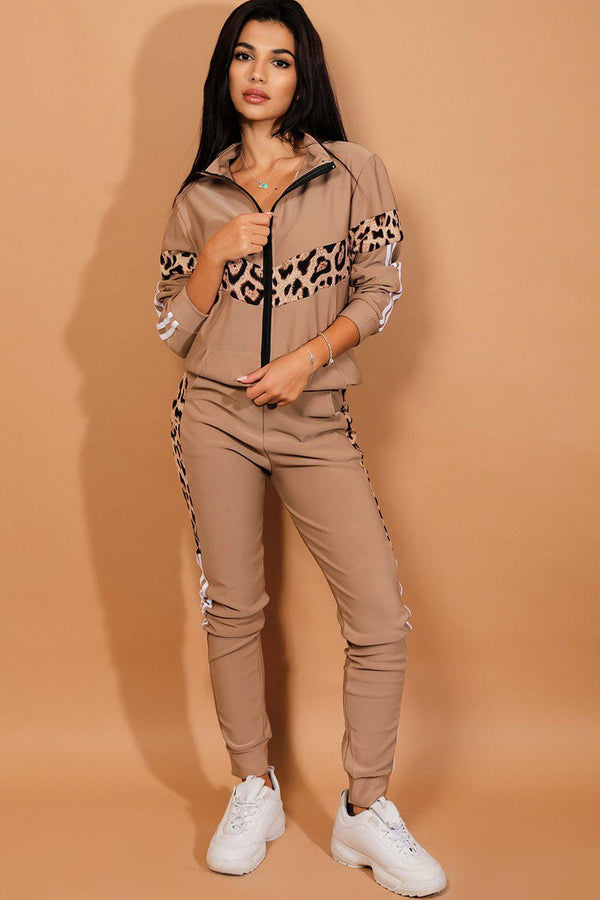 Taupe Leopard Print Panels High Neck Tracksuit-SinglePrice