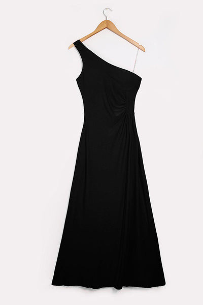 One Shoulder Black Maxi Dress-SinglePrice