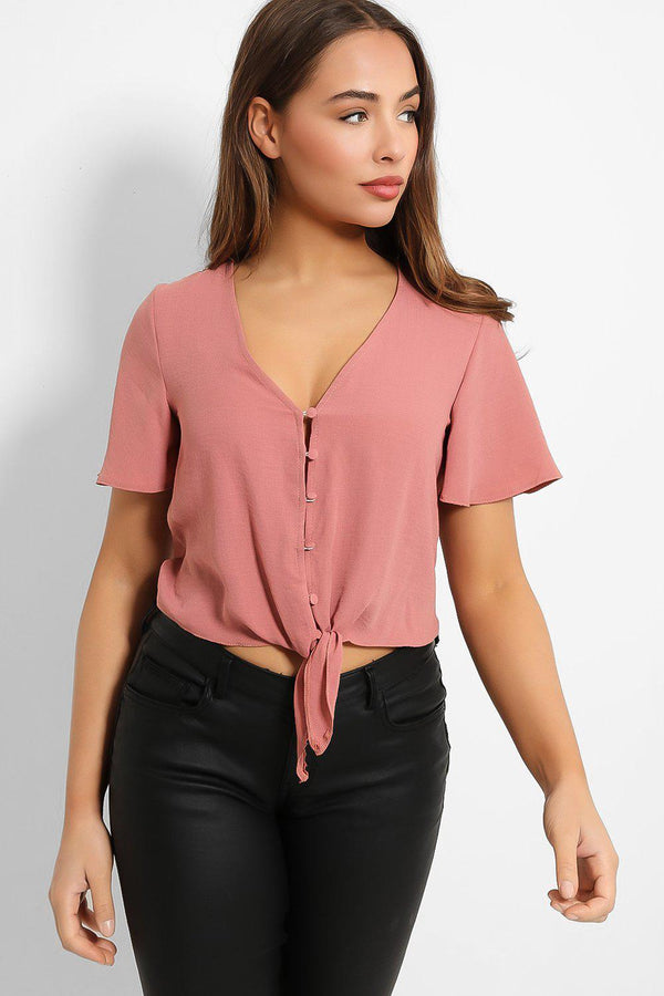 Blush Buttoned Tie Front Cropped Top - SinglePrice