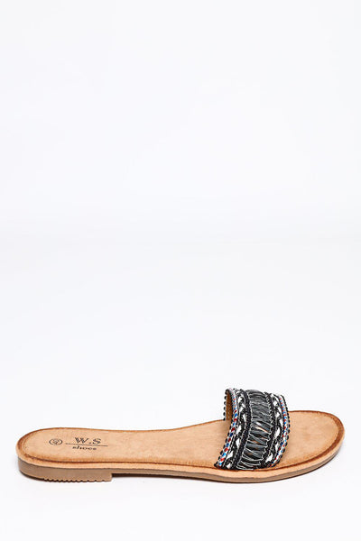 Black Embroidered Strap Flats Sandals-SinglePrice