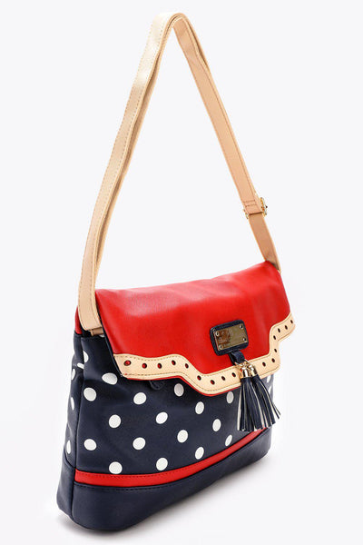 Tasseled Red and Navy Polkadot Bag-SinglePrice