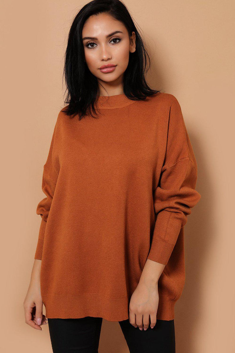 Brown Soft Knit ROCK & ROLL Embellished Back Jumper - SinglePrice