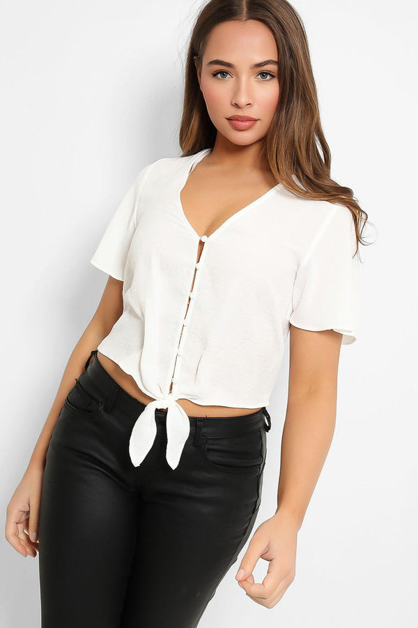 White Buttoned Tie Front Cropped Top - SinglePrice
