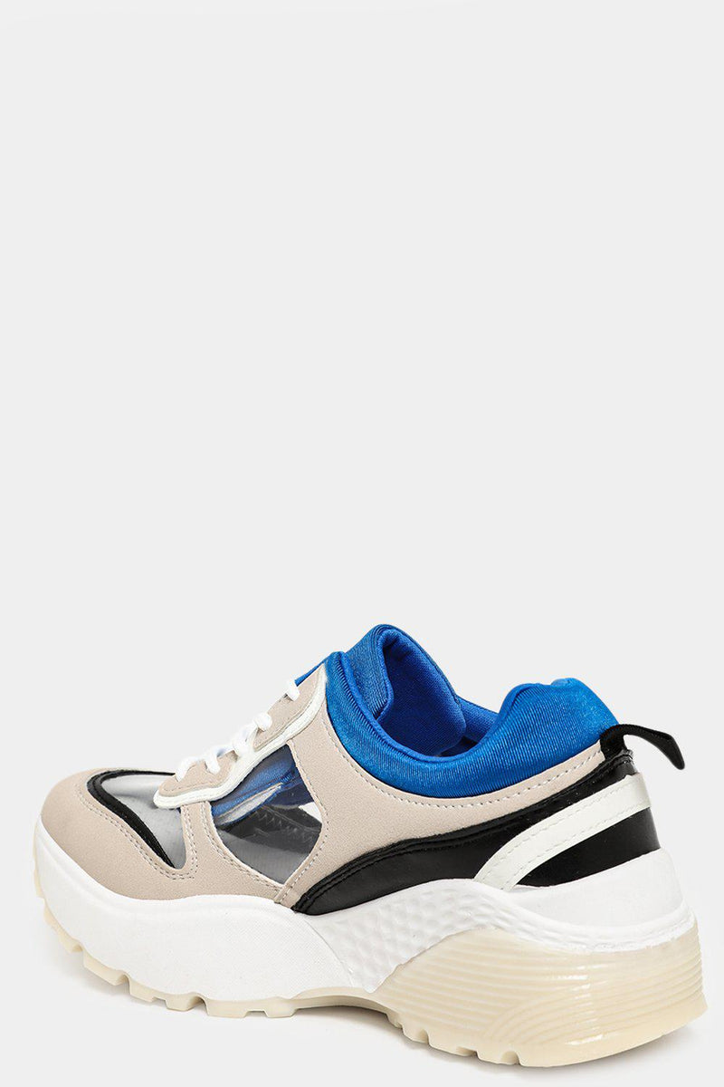 Beige Colourblock Transparent Panels Chunky Trainers - SinglePrice