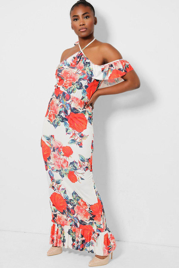White Floral Bardot Frill Fishtail Maxi Dress - SinglePrice