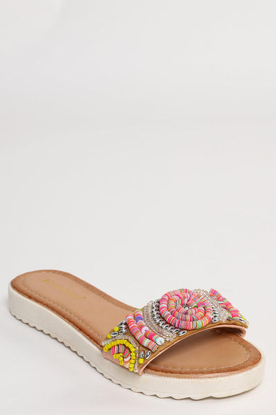 Beaded Pink Strap Wedge Flats-SinglePrice