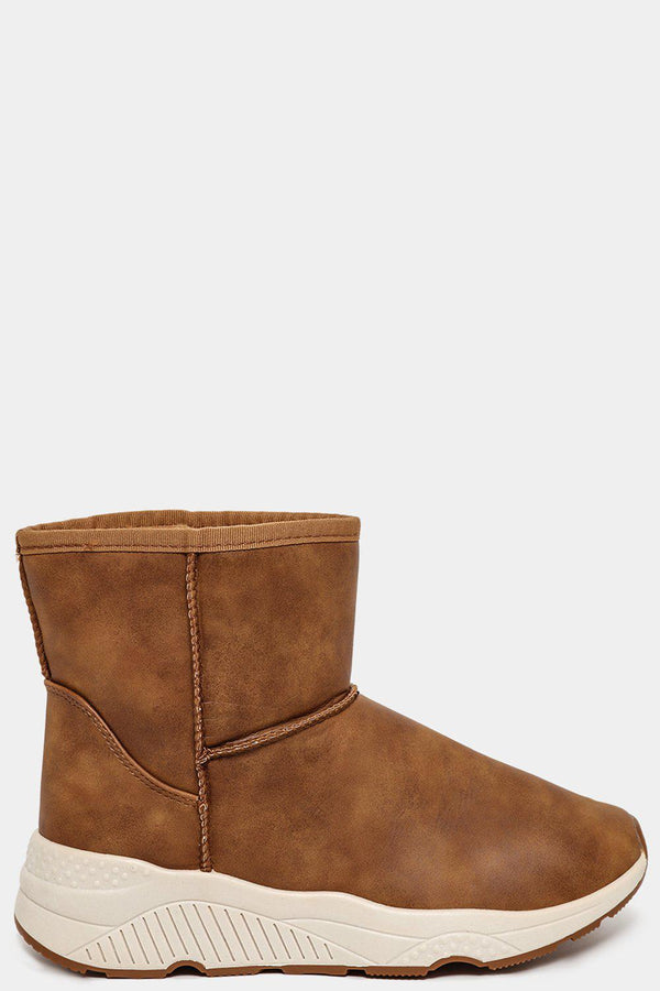 Camel Faux Fur Lined Vegan Leather Ankle Warm Boots - SinglePrice