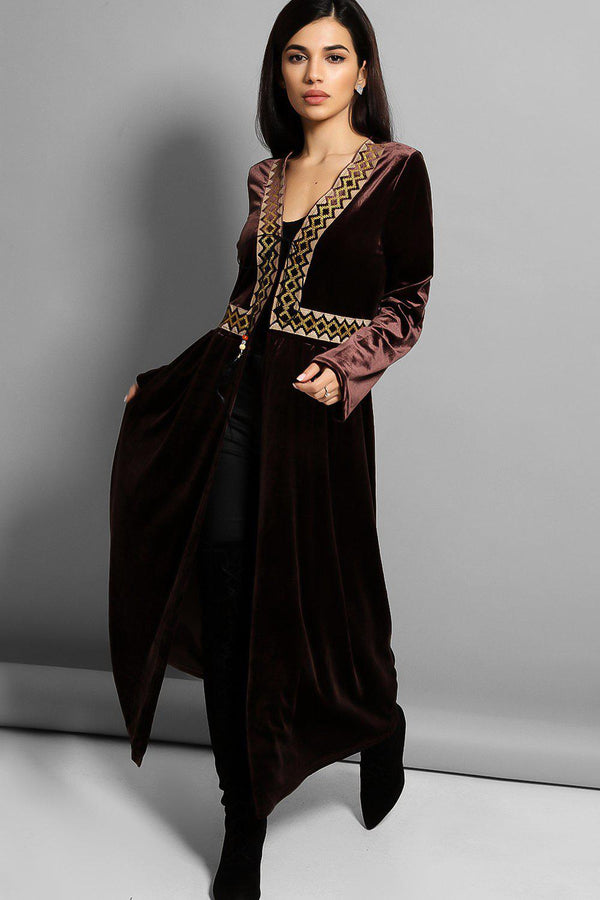 Brown Embroidered Panel Velvet Kaftan - SinglePrice