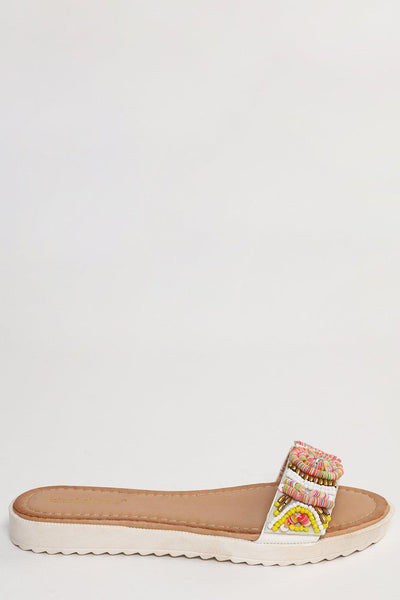 Beaded White Strap Wedge Flats-SinglePrice