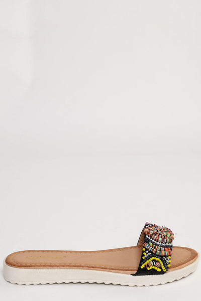 Beaded Black Strap Wedge Flats-SinglePrice