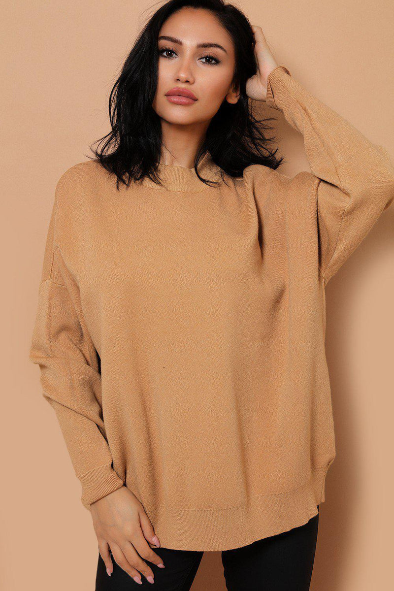 Camel Soft Knit ROCK & ROLL Embellished Back Jumper - SinglePrice