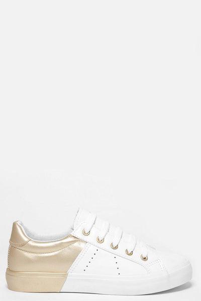 Gold Colour Block White Trainers-SinglePrice