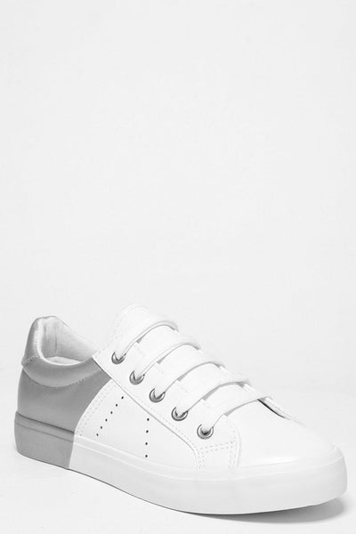 Silver Colour Block White Trainers-SinglePrice