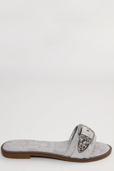 Silver Buckle Grey Flat Sandals-SinglePrice
