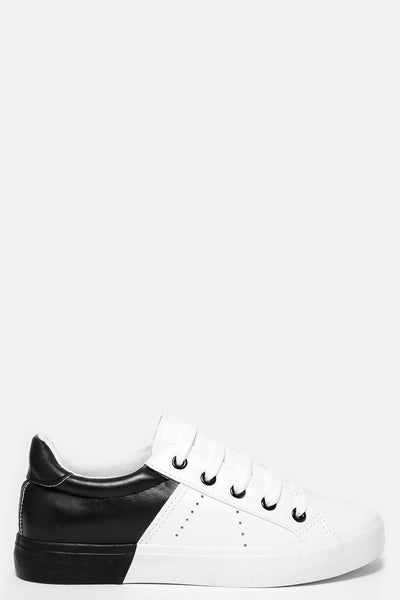 Black Colour Block White Trainers-SinglePrice