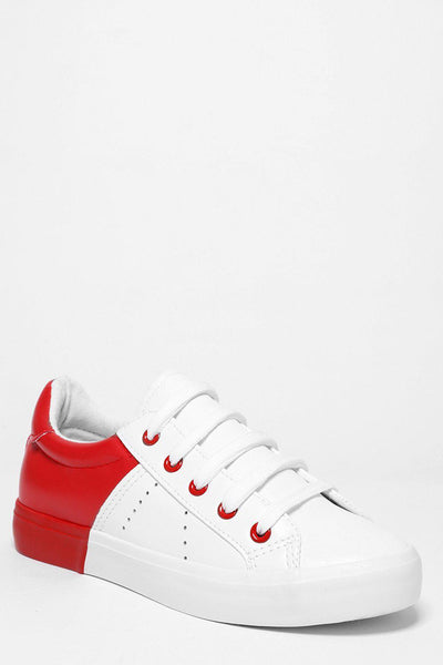 Red Colour Block White Trainers-SinglePrice