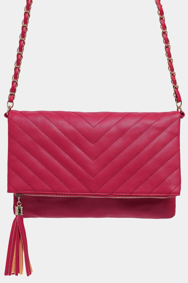 Hot Pink Chevron Quilt Tassel Convertible Crossbody Bag - SinglePrice
