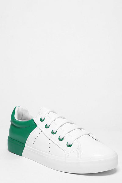 Green Colour Block White Trainers-SinglePrice