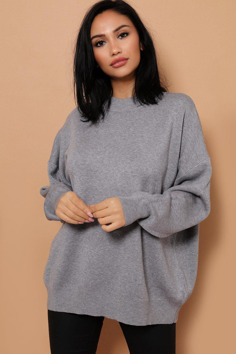 Grey Soft Knit ROCK & ROLL Embellished Back Jumper - SinglePrice