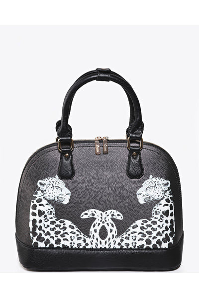 Black Leopard Print Medium Satchel-SinglePrice