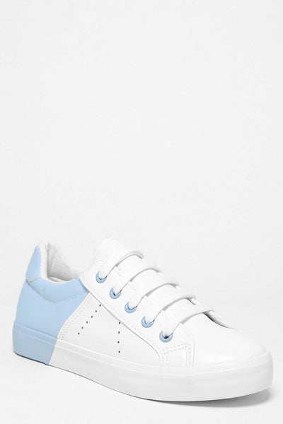 Blue Colour Block White Trainers-SinglePrice