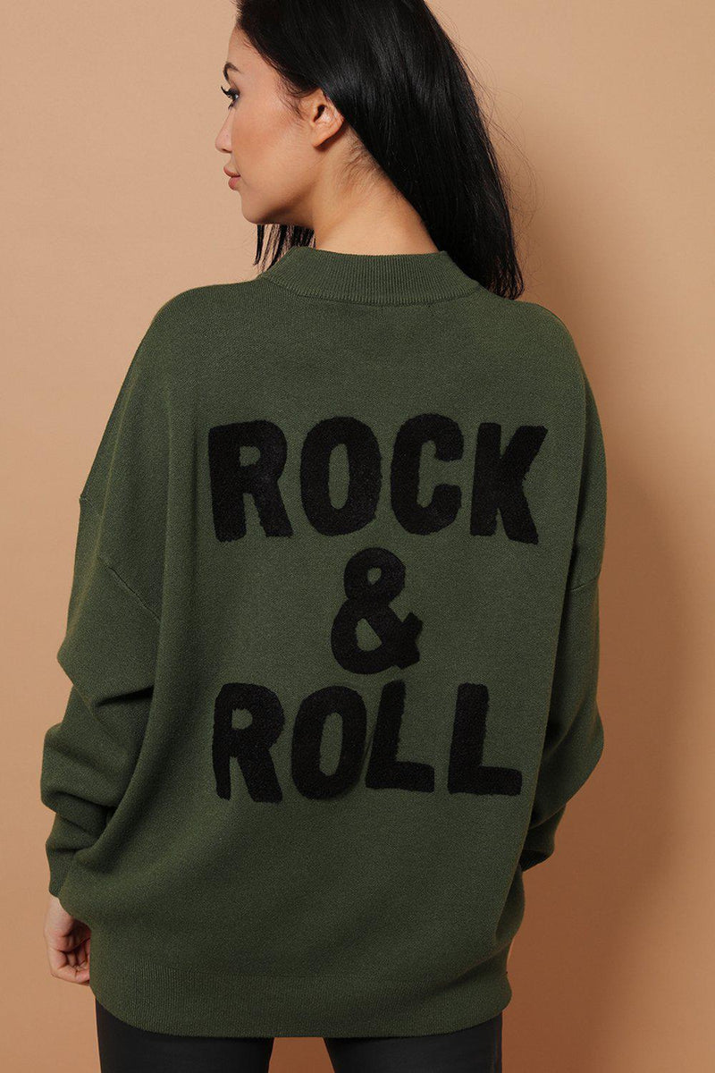Khaki Super-Soft Knit Oversized Embellished Rock'n'Roll Jumper - SinglePrice