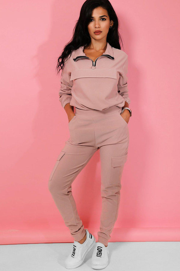 Pink Faux Pocket Drawstring Sweatshirt And Cargo Trousers Tracksuit - SinglePrice