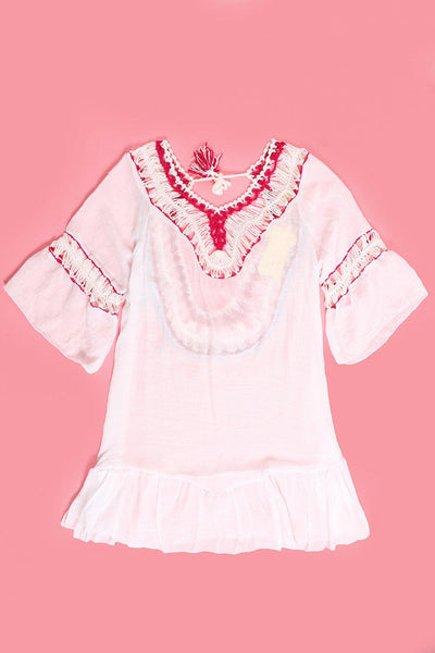 Pink Crochet Colourful Details Low White Cotton Tunic-SinglePrice