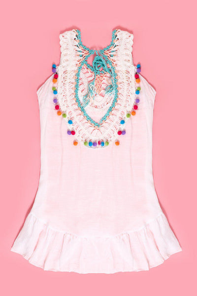 Crochet Colourful Details White Sleeveless Cotton Tunic-SinglePrice