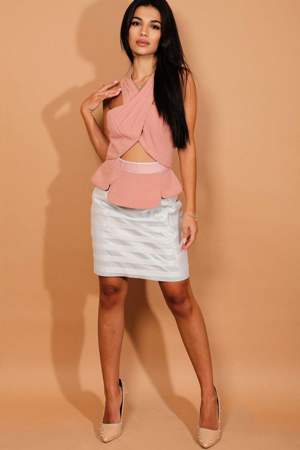 Pink Wrap Over Cut Out Detail Mini Dress - SinglePrice