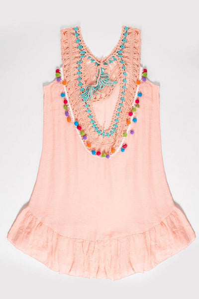 Crochet Colourful Details Coral Sleeveless Cotton Tunic-SinglePrice