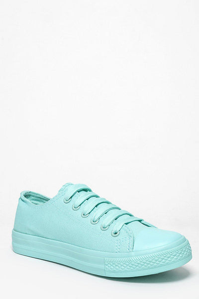 Pastel Green Canvas Trainers-SinglePrice