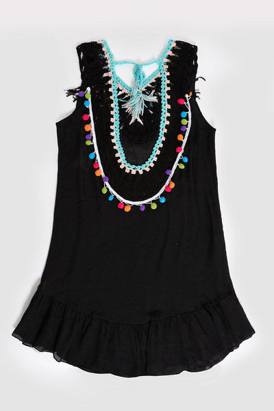 Crochet Colourful Details Black Sleeveless Cotton Tunic-SinglePrice
