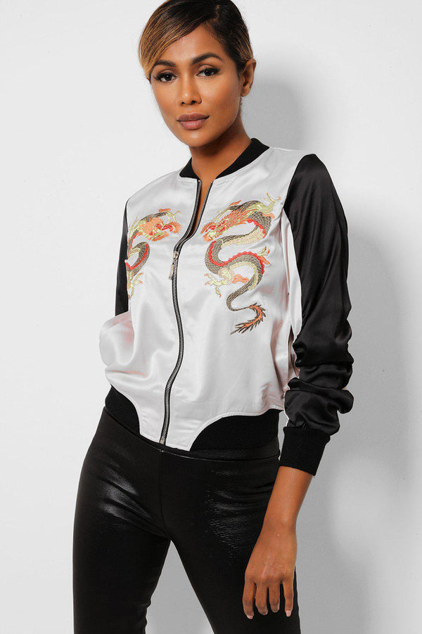Oriental Dragon Embroidered Satin Beige Bomber Jacket - SinglePrice