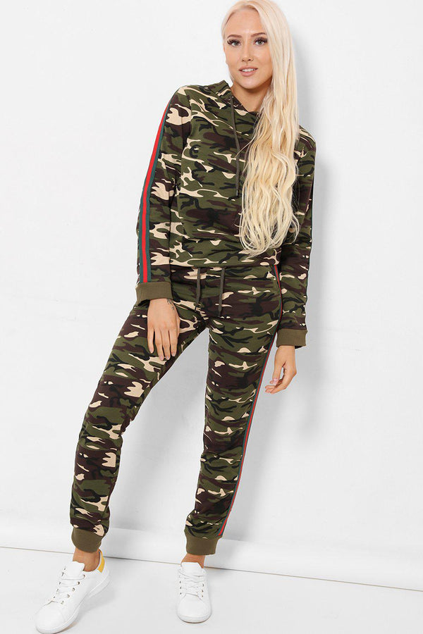 Stripe Side Hooded Beige Camo Print 2 Piece Tracksuit - SinglePrice