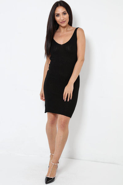 Black Knitted Vest Dress-SinglePrice