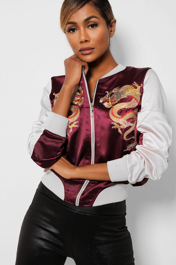Oriental Dragon Embroidered Satin Burgundy Bomber Jacket