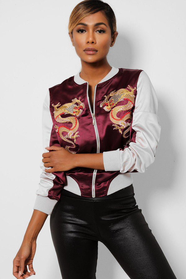 Oriental Dragon Embroidered Satin Burgundy Bomber Jacket-SinglePrice
