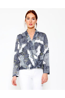 Stork Print Black Cross Over Blouse-SinglePrice