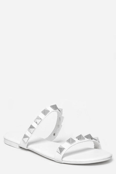 White Pyramid Studded Straps Sandals-SinglePrice