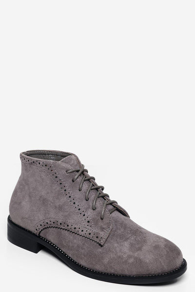 Grey Suedette Ankle Brogue Boots-SinglePrice