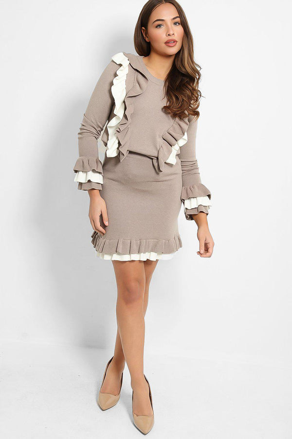 Taupe Double Frill Knitted Top And Skirt Set - SinglePrice