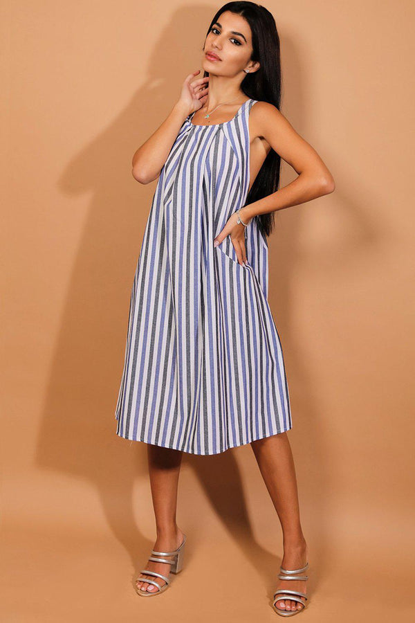 Blue Grey Stripe Drop Arm Hole Dress-SinglePrice