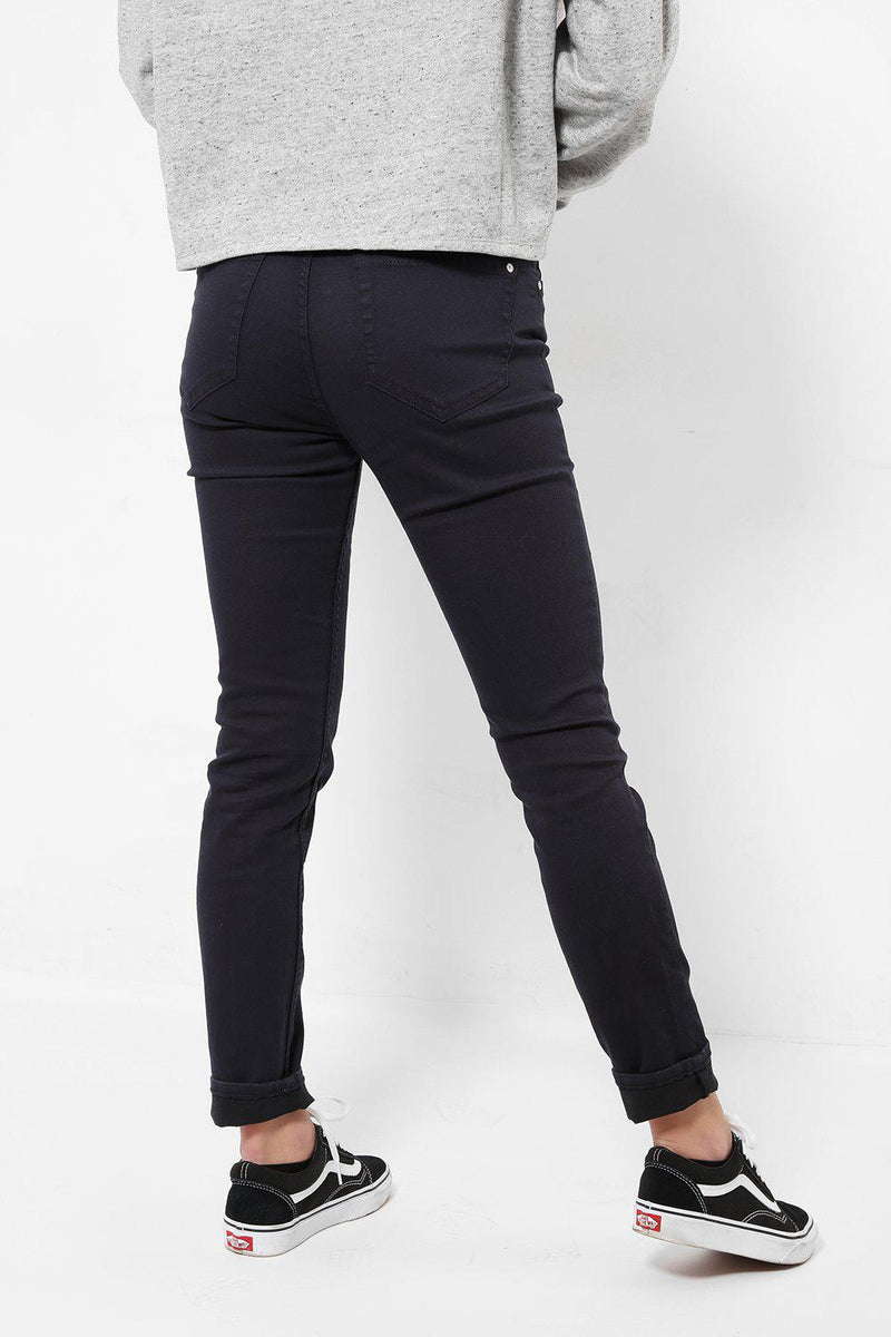 Distressed Finish Navy Jeans - SinglePrice