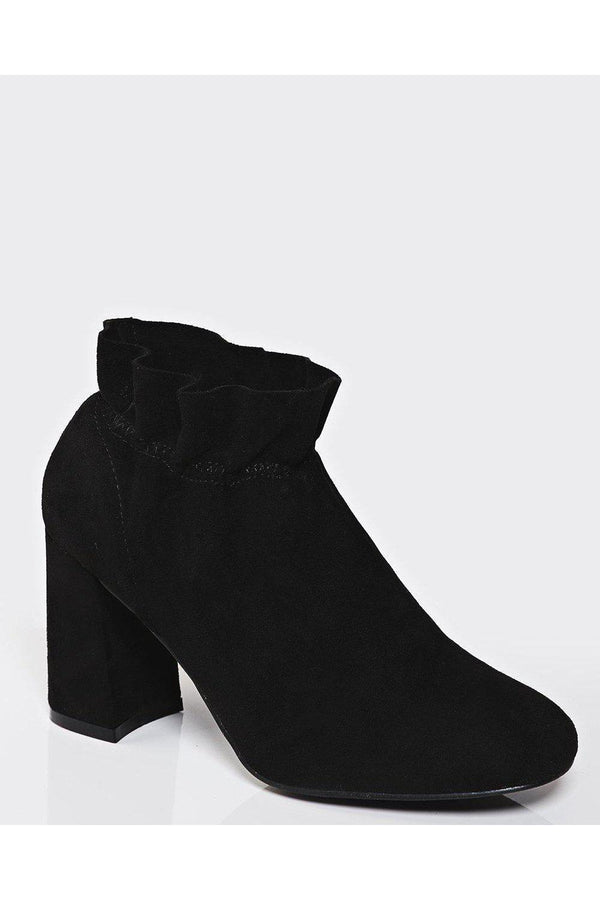 Elastic Top Flared Heel Black Ankle Boots-SinglePrice