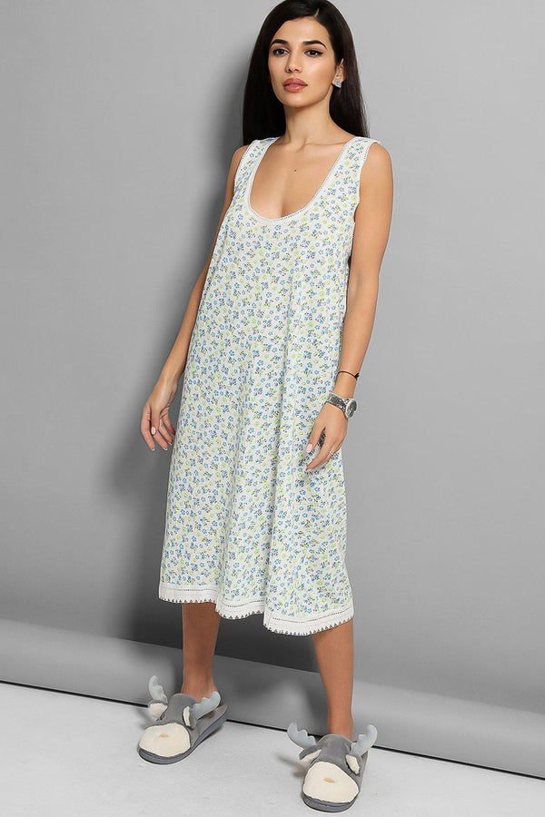 Green Floral Print White Lace Trims Nighty - SinglePrice
